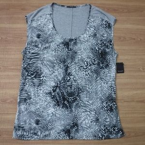 Tahari Gray Animal Print Scoop Neck Top ~NWT~